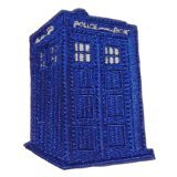 "Doctor Who Tardis Police Box Classic Diecut 2 1/8"" Wide Embroidered Patch"