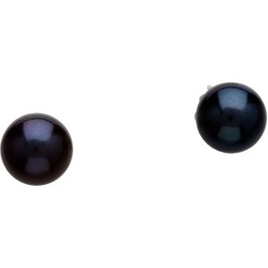 14K White Gold Akoya Cultured Black Pearl Ear: PAIR 6.00 MM