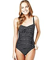 Tummy Control Spotted & Ruched Twist Front Swimsuit