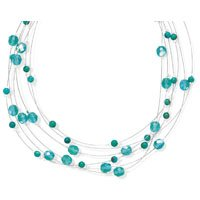 Extension Aqua Glass and Turquoise 6 Strand Necklace, Sterling Silver