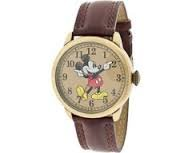 Disney MCK959 Mickey Mouse Unisex Gold Tone & Leather Classic Moving Hands Watch 2