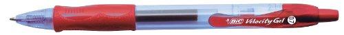 BIC Velocity Gel - Bolígrafo de tinta gel con punta retráctil (trazo de 0,4 mm, 12 unidades), color rojo