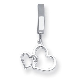 14K White Solid Double Interlocking Heart T-Toy Belly Ring - JewelryWeb