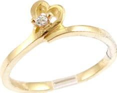 14k Yellow Gold, Dainty Abstract Heart Design Ring with Lab Created Round Stone