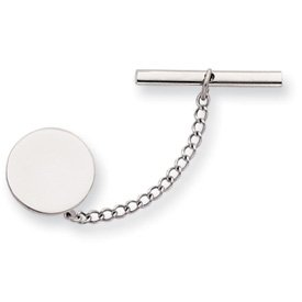 Rhodium-plated Round Polished Tie Tack - JewelryWeb