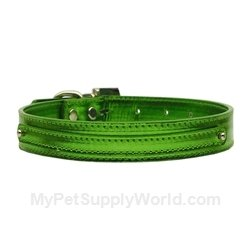 Metallic Two Tier Dog Collar - Emerald Green, Large 3/8