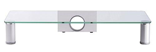 VCM 906095 Pocasa Meuble  TV en Verre Argent 10 x 62 x 25 cm
