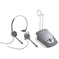 Plantronics S12 Monaural Noise Cancelling Hands free Telephone Headset System - Convertible Duo Set - Both Headband Headset & Earloop Over Ear Headset - silver grey (UK Model - Battery + UK & European mains electric adapters) - 2 year guarantee image