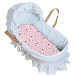 Kushies Bassinet Pad Fitted Flannel Sheet - Pink Crazy Bubbles