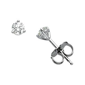 Martini-Style Diamond Stud 14K White Gold Earrings - 1/5 ct tw