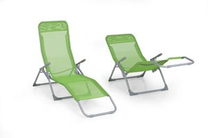Set of 2 Olive Grove Siesta Sun Lounger Relaxer Recliners in Orchard Textoline.