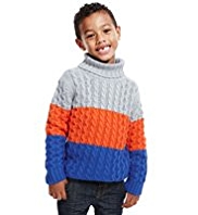 Cable Knit Colour Block Striped Jumper