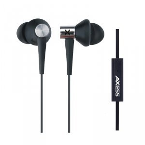 Axess Epmv106-Bk Boombug Comfort Fit High Quality Earphone With Microphone, Compatible With Ipod, Iphone, Ipad And All Audio And Media Devices With A 3.5Mm Jack - Black