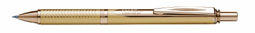 Pentel BL407X-BOX EnerGel Sterling - Bolígrafo de punta redonda con caja dorada, ancho de trazo de 0,35 mm, diámetro de bola de 0,7 mm, tinta negra, color dorado