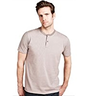 Slim Fit Pure Cotton Striped Notched Neck T-Shirt