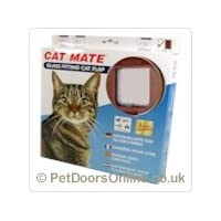 Cat Mate 210B Glass Fitting Cat Flap - BROWN