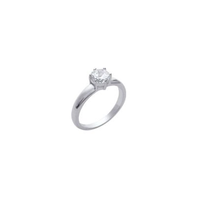 Ladies Sterling Silver Clear Cubic Zirconia Solitaire Engagement Ring
