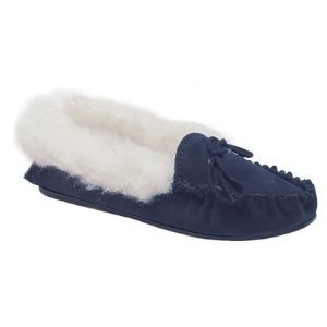 Ladies Navy Suede Moccasin Slippers Fur Lining & Collar,Hardwearing Sole.size 5