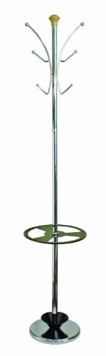 Modern metal hat and coat stand in black and chrome finish