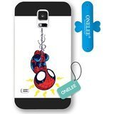 Onelee Customized Marvel Series Case for Samsung Galaxy S5, Marvel Comic Hero Spider Man Logo Samsung Galaxy S5 Case, Only Fit for Samsung Galaxy S5 (Black Frosted Case)[Free One Touch Silicone Stand]