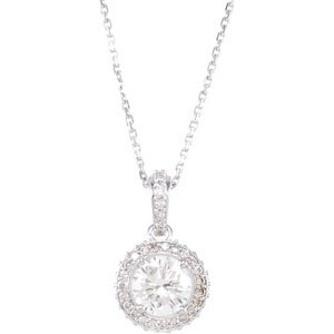 14k White Gold Diamond Entourage Necklace 18