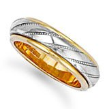Jewelco London 9ct Premium quality,solid yellow  &  white gold made to order 6mm Spinning Centre Wedding Ring ,Size I (7g)