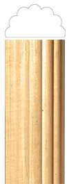 White River # CM2440-CH, Small Reeded Half Lineal, 1 inch W x 1/2 inch D x 96 inch H, Cherry