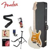 Squier by Fender Arctic White Electric Guitar w/ Stand, Strap, Strings, Tuner, Pick Sampler, Hard Case & Online Lesson (Fender Starter Pack compare prices)