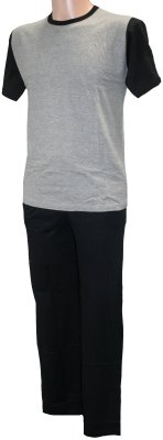 Tom Franks Mens Grey Marl Top & Black Trouser Cotton Jersey Long Pyjamas Large