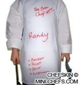 CHEFSKIN SET S (1 ADJUSTABLE HAT + 1 APRON) CHEF White SMALL fits Kids CHILDREN 2-8 EXCELLENT FOR SCHOOL PLAYS, HALLOWEEN, CHRISTMAS, HELP MOM, COOKING OR BAKING PARTIES AND MORE