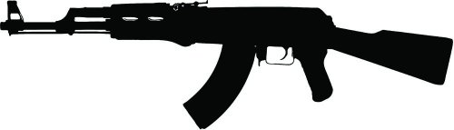 Wallmonkeys WM103468 Ak-47 Assault Rifle Clip Art W/ Clipping Path Peel and Stick Wall Decals (24 in W x 7 in H)
