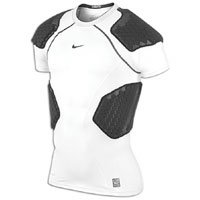 Nike Mens Pro Combat Hyperstrong 4-Pad Football Top - White/Black-M