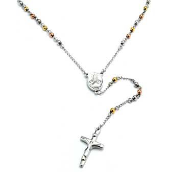 Two Tone Stainless Steel Rosary With Alternating 3MM Gold and Rose Plated Beads - 26 Length