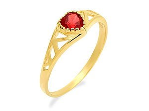 9ct Gold Heart Shaped Garnet Ring - J