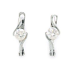 14ct White Gold April Birthstone Clear 3mm Round CZ Leverback Earrings - Measures 12x3mm