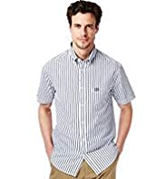 Blue Harbour Supersoft Pure Cotton Short Sleeve Double Striped Shirt