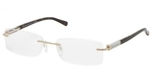 Bulgari Men's 1054 Pale Gold Frame Rimless Eyeglasses, 55mm