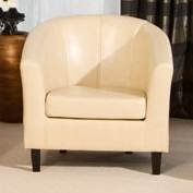 Mayfair Cream Bicast Leather Tub Chair by Pavorio