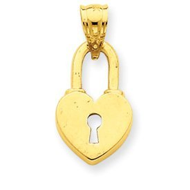 14k Gold Heart Lock Pendant