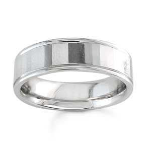 Women's 14k White Gold Mirrored Comfort-Fit Wedding Band (6.50 mm)