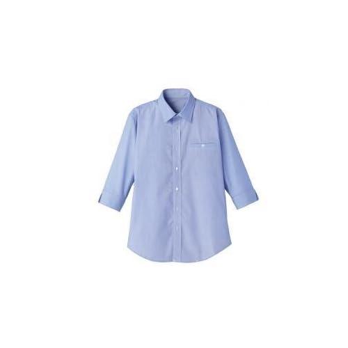 FACEMIX(フェイスミックス) マイクロチェック七分袖シャツ 3L ブルー×ホワイト FB561U