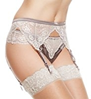 Rosie for Autograph Silk Suspender Belt with French Designed Rose Lace