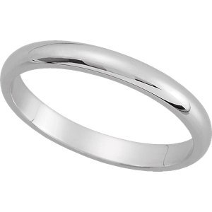 Genuine IceCarats Designer Jewelry Gift 10K White Gold Wedding Band Ring Ring. 02.50 Mm Half Round Band In 10K Whitegold Size 8.5