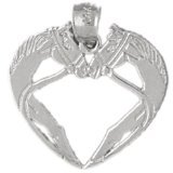 CleverEve 14K White Gold Heart with Dual Horse Head Frame Pendant 1.6 Grams