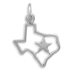 Sterling Silver Texas With Star Charm Measures 17x15mm - JewelryWeb