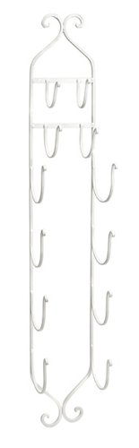 """41.25"""" White Finished Wrought Iron Towel And Wine Bottle Rack With Scrolls front-816597"""