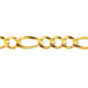 10K Solid Yellow Gold Figaro Chain Necklace 6mm thick 24 Inches