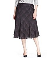 Plus Checked Satin Long Skirt