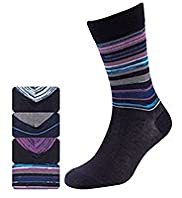 4 Pairs of Autograph Space Dye Striped Socks with Modal