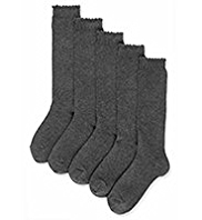 5 Pairs of Cotton Rich Picot Trim Knee High School Socks